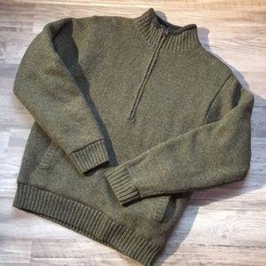 L. Bean fleece-lined wool sweater, hunter green, S